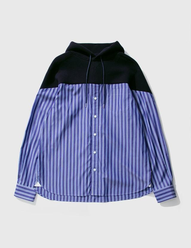 Sacai Cotton Shirt Hoodie Navy X Random Stripes Men