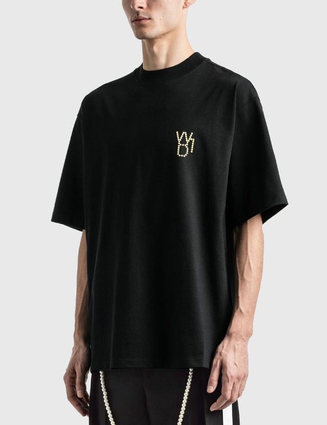 We11done Pearl 로고 티셔츠 Black Men