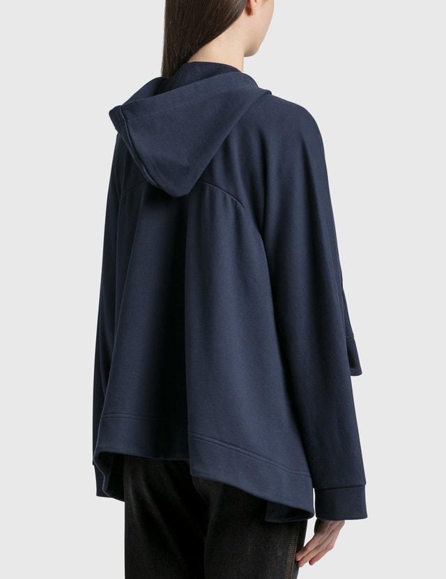 Loewe Oversize Anagram Embroidered Zip Hoodie Navy Blue Women
