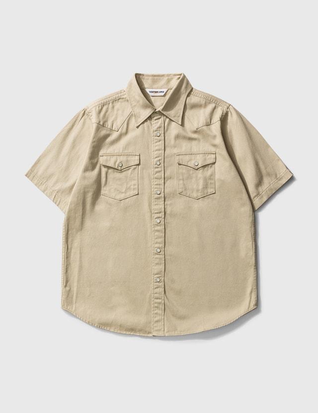 BAPE Bape Embroidery Batch Military Shirt Beige Men