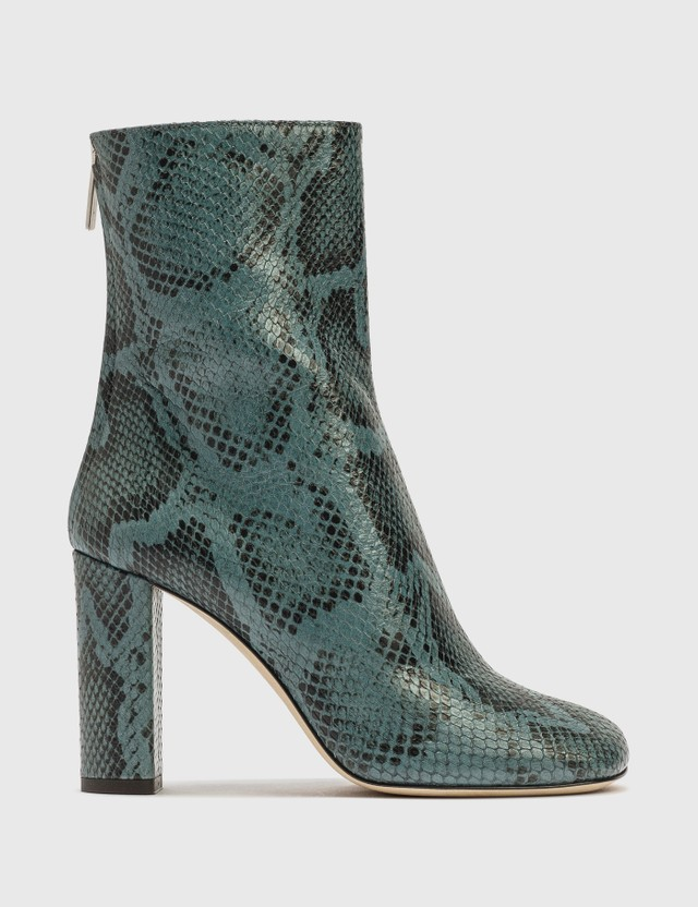 Paris Texas Python Printed Leather Block Heel Mid Calf Boot 127 - Grigio Azzurro Women