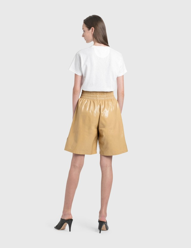 Bottega Veneta Leather Shorts Tapioca Women