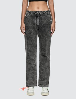 Off-White Slightly Bell Jeans With Twisted Scarf