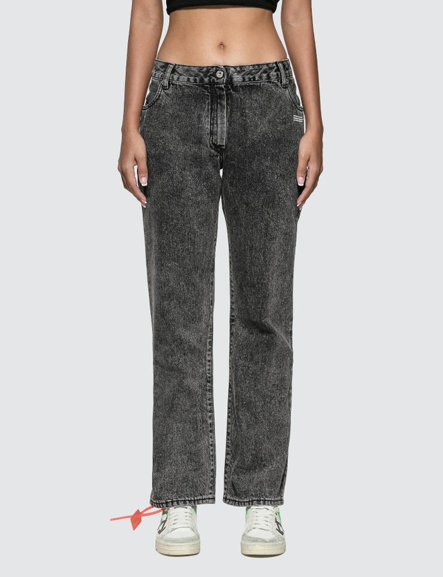 Off-White Slightly Bell Jeans With Twisted Scarf Dark Grey Wash Women