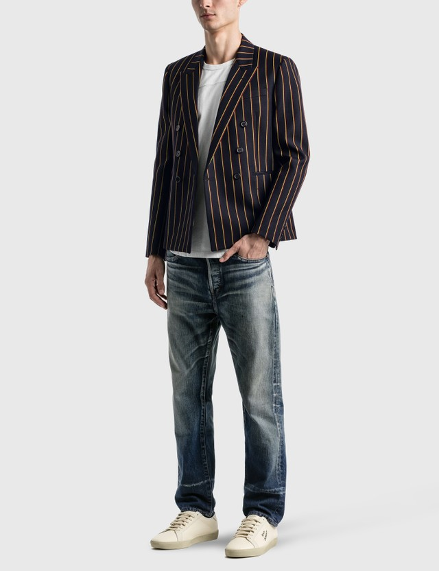 Saint Laurent Double Breasted Short Tailored Jacket In Striped Wool Serge Marine Jaune Rouge Men
