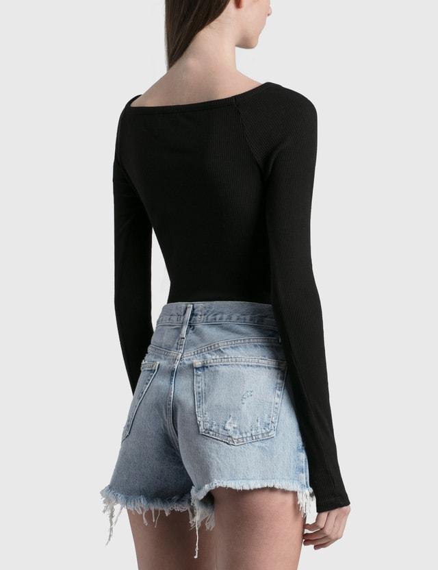 AGOLDE Hanley Square Neck Body Suit Black Women