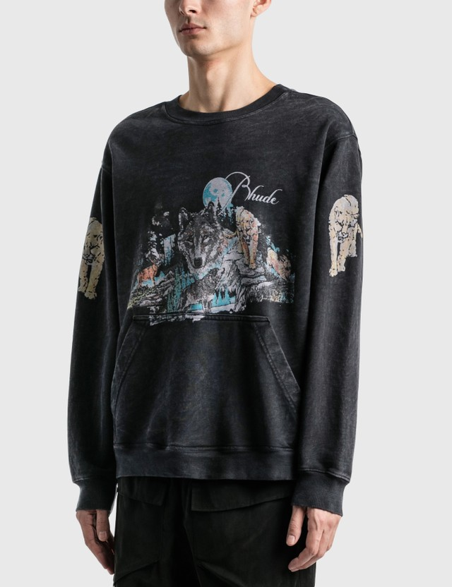 Rhude Wolf Graphic Sweatshirt Black 0015 Men