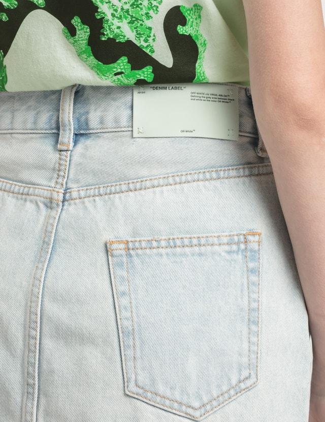 Off-White Full Zip Denim Mini Skirt =e119 Women