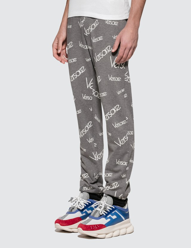 Versace Font Monogram Printed Sweatpants Grigio+stampa Men