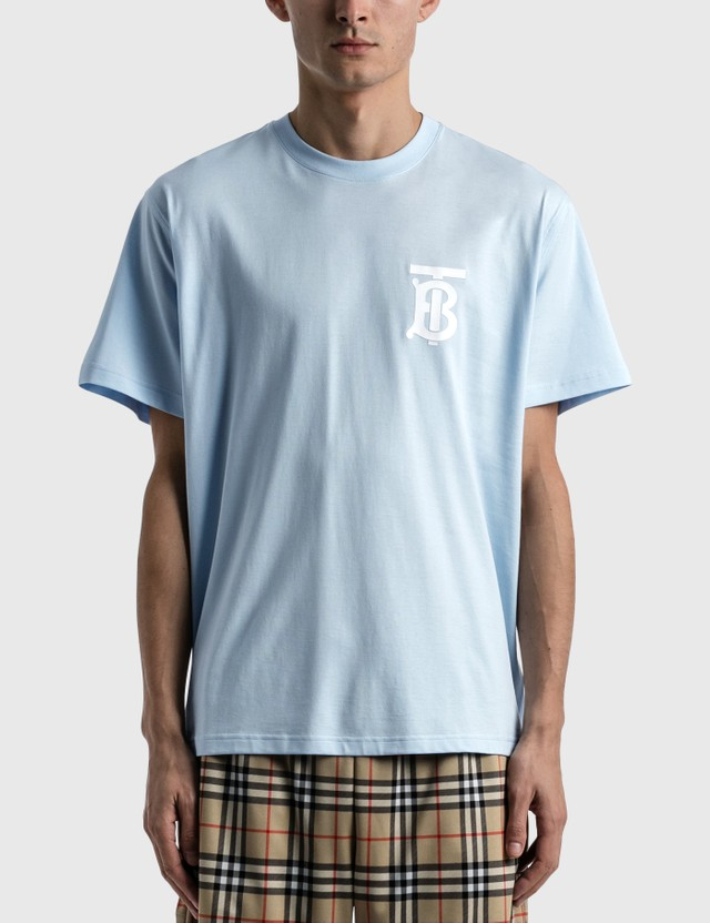 Burberry Monogram Motif Cotton Oversized T-shirt Pale Blue Men