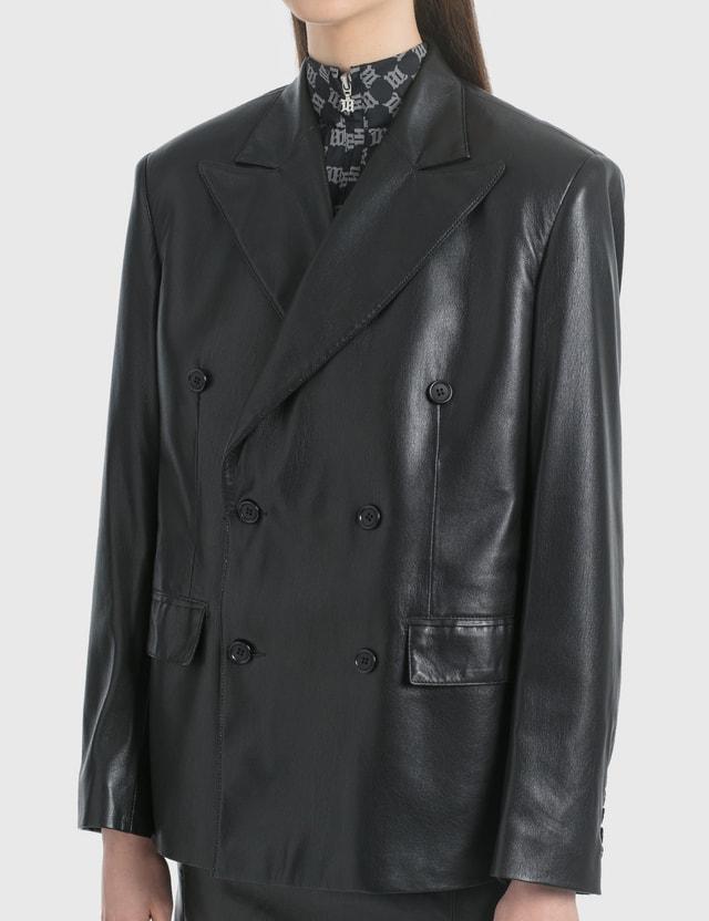 Misbhv Vegan Leather Double Breasted Blazer