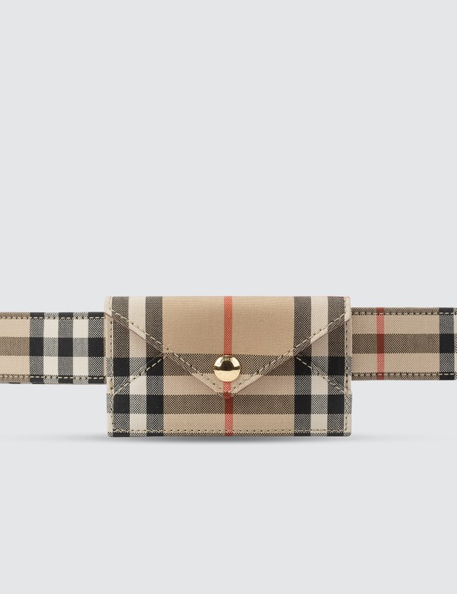 Burberry Envelope Leather Check Belt Bag