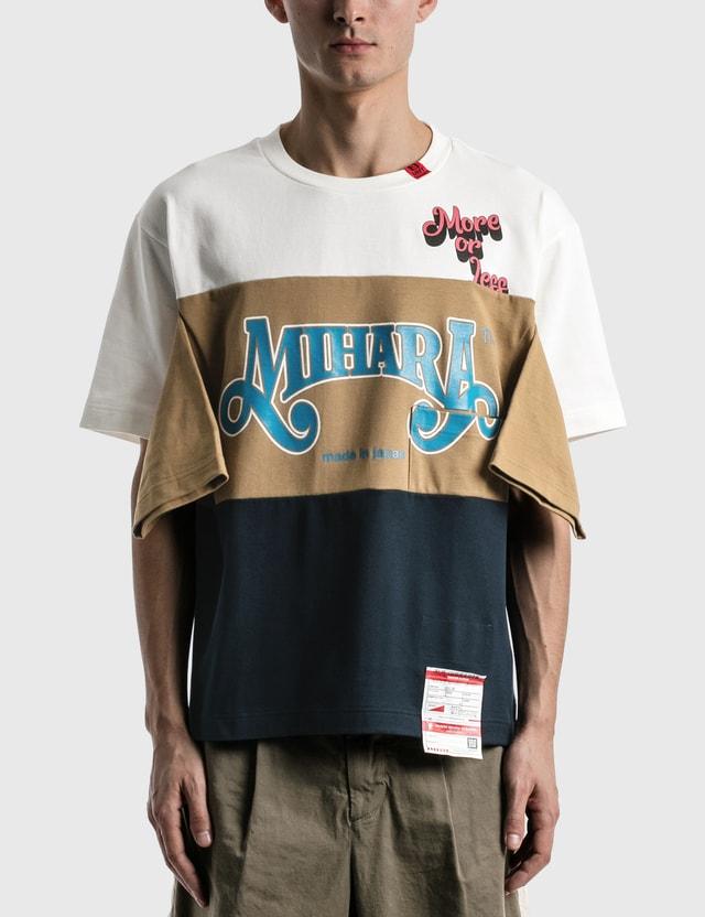Maison Mihara Yasuhiro Border Docking T-shirt White Men