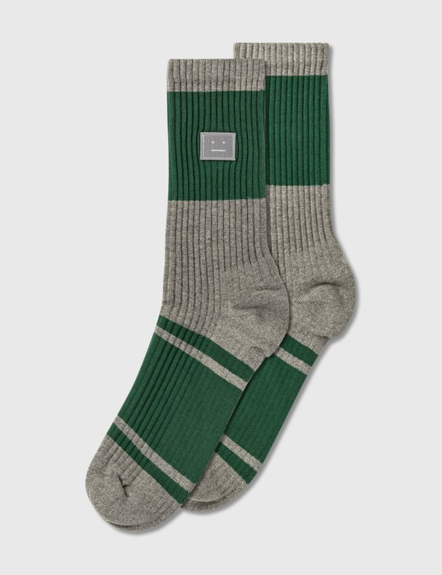 Acne Studios Face Patch Striped Socks