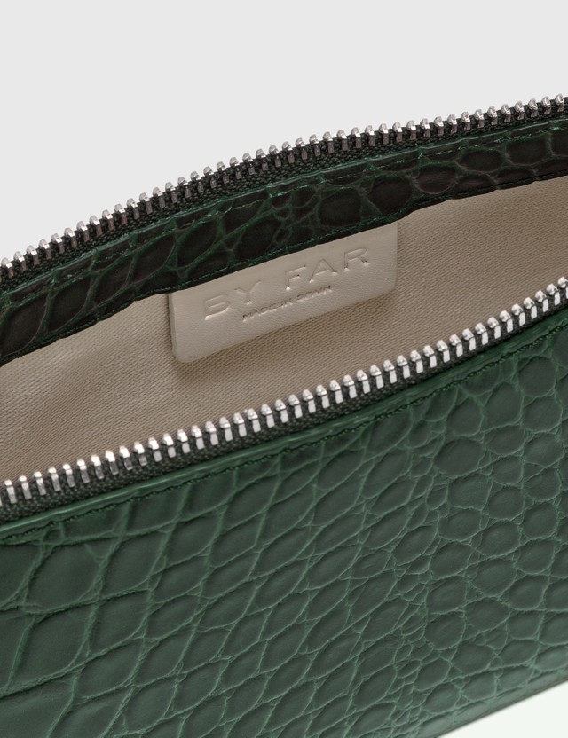 BY FAR Rachel Dark Green Croco Embossed Leather Bag