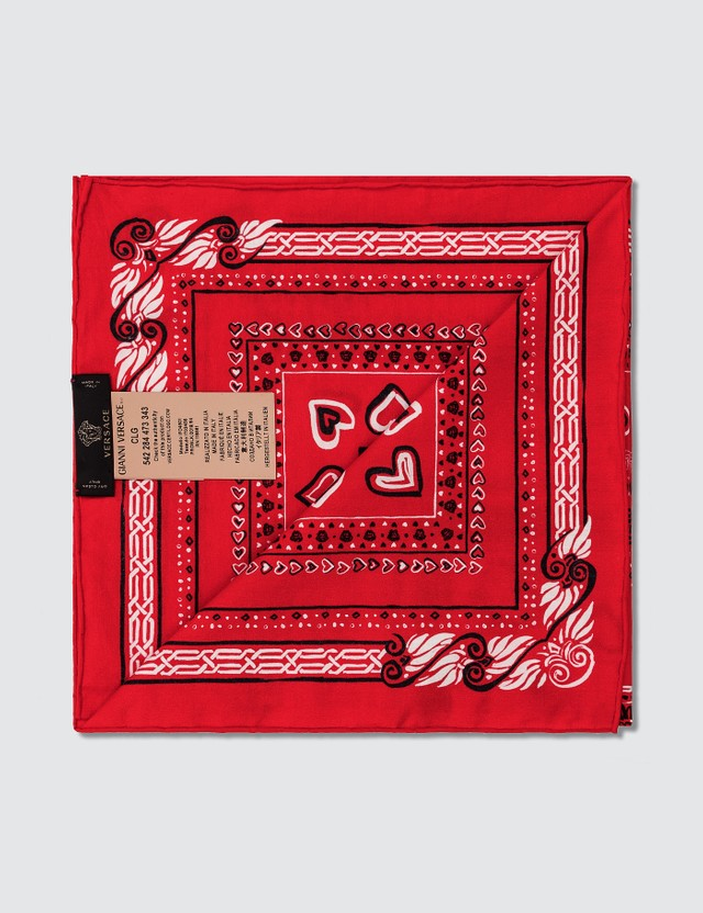 Versace Heart Print Bandana Scarf