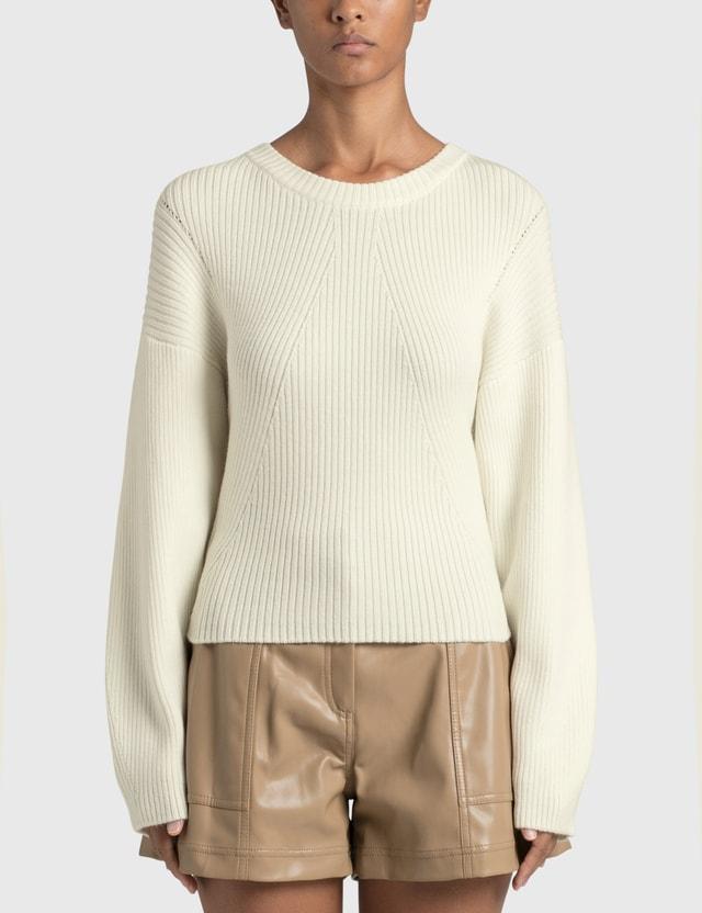 Jonathan Simkhai Kylee Recycled Knitwear Drape Back Pullover White Women