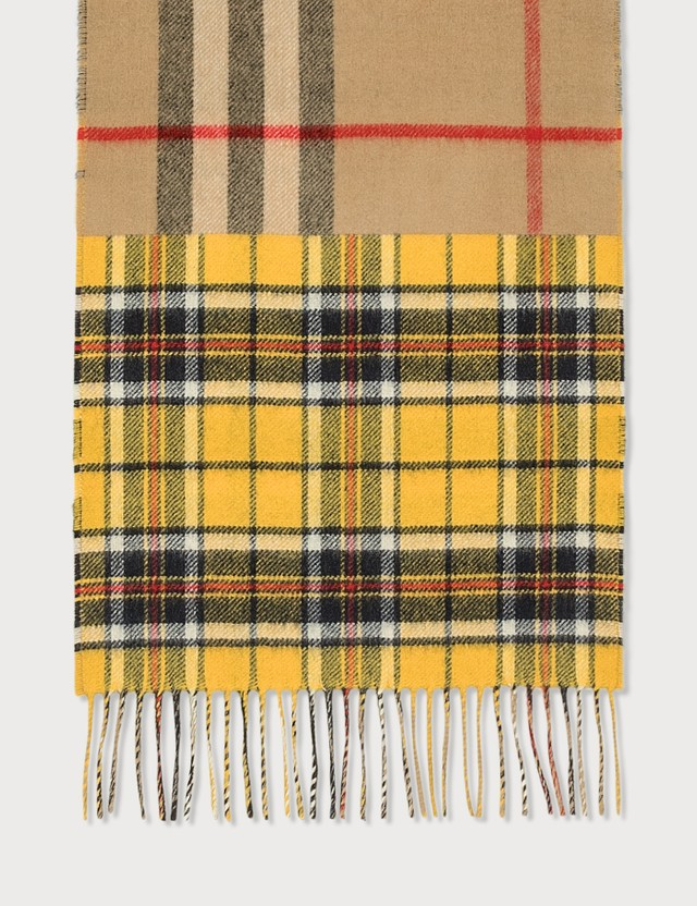 Burberry Contrast Check Cashmere Merino Wool Jacquard Scarf