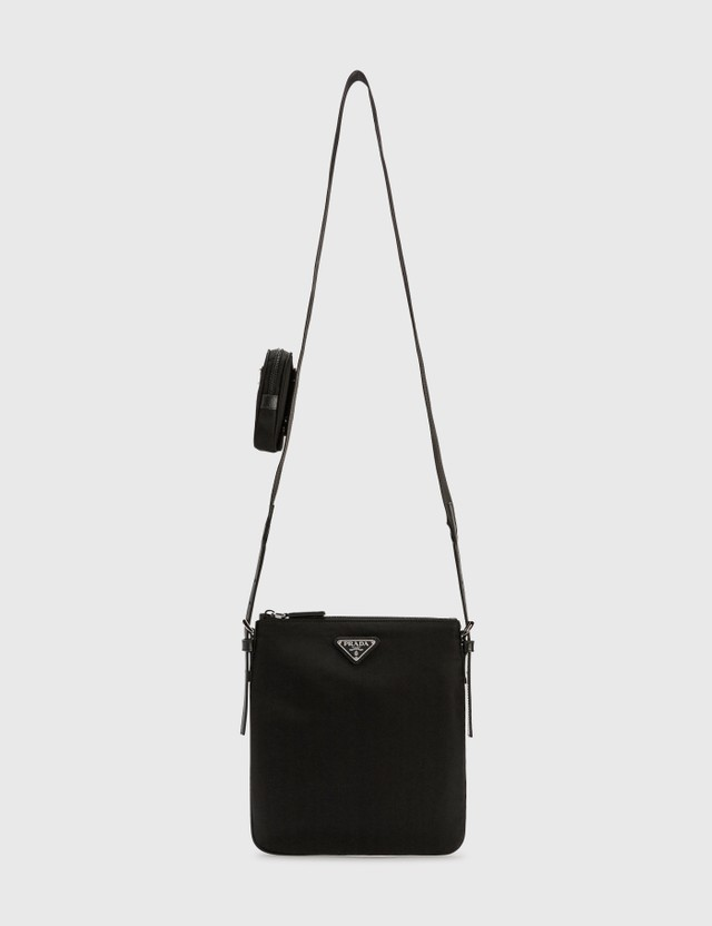 Prada Nylon Logo Crossbody Bag With Small Pouch Nero Men