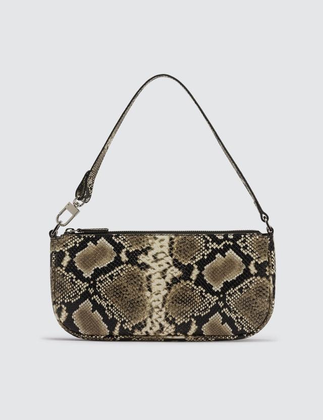 BY FAR Rachel Snake Print Leather Bag