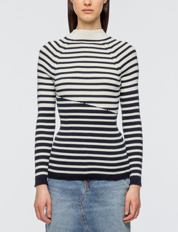 Maison Kitsune Striped Ribbed Pullover