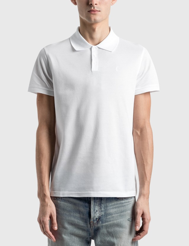 Saint Laurent 모노그램 폴로 셔츠 Blanc Men
