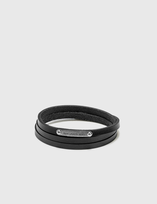 Saint Laurent Narrow Multi-Wrap Leather Bracelet
