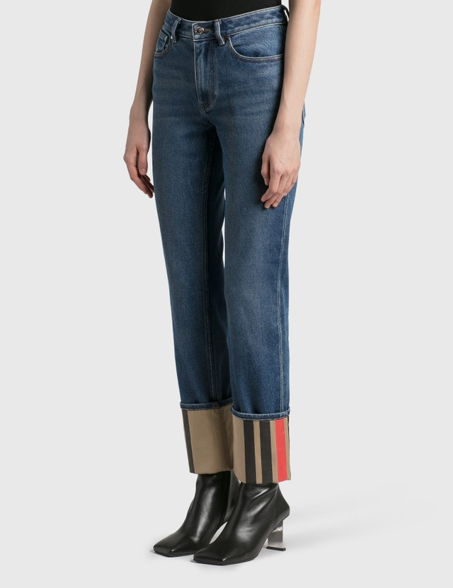 Burberry Straight Fit Striped Cuff Washed Jeans Mid Indigo Blue Women