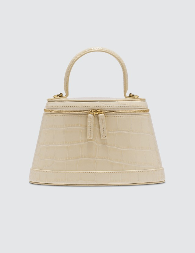 BY FAR Annie Cream Croco Embossed Leather Bag