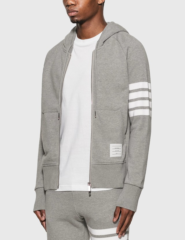 Thom Browne Classic 4-Bar Zip Hoodie Light Grey Men