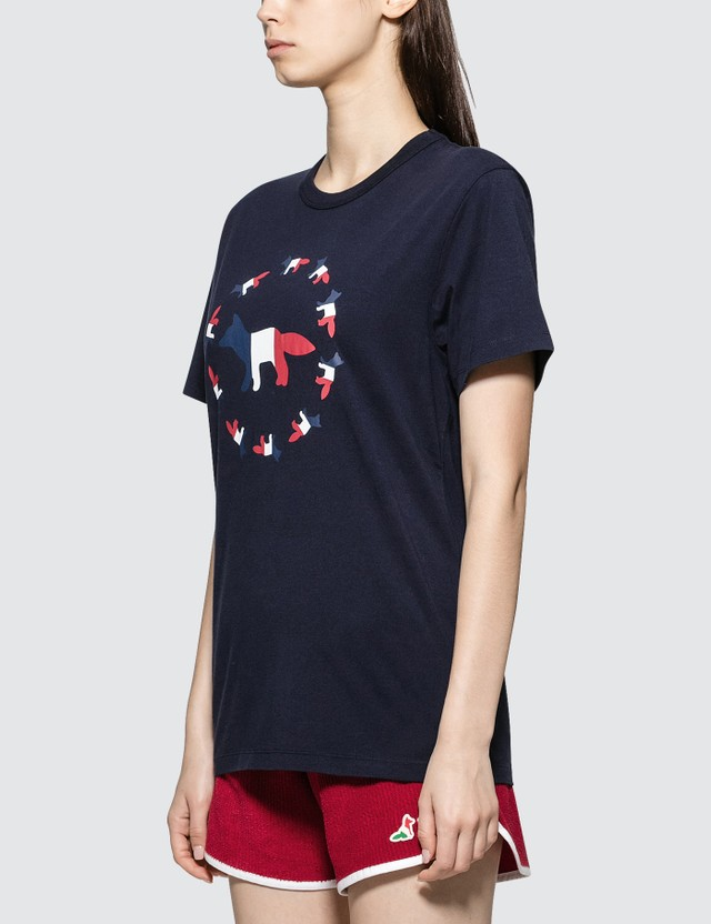Maison Kitsune Tricolor Fox Flag Short Sleeve T-shirt