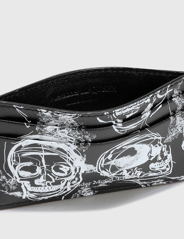 Alexander McQueen Painted Skull Card Holder Black/white Men