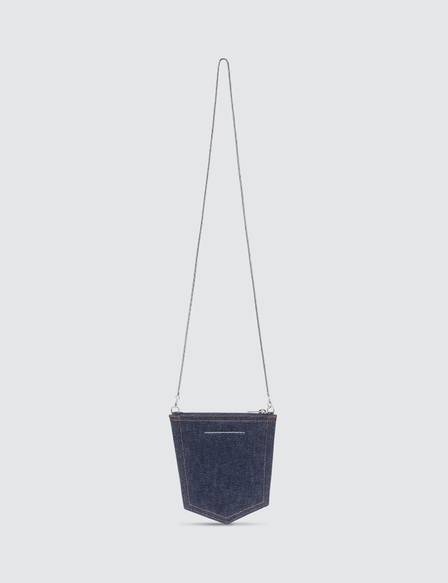 MM6 Maison Margiela Denim Pocket Chain Cross Body Bag Indigo Women