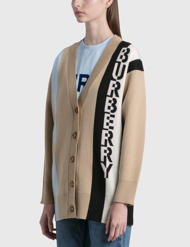 Burberry Logo Merino Wool Blend Jacquard Cardigan Soft Fawn Women