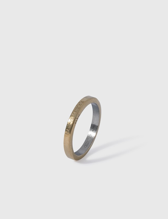 Maison Margiela Logo Slim Ring Yellowgold Semipolishedplating +palladiosemipolished Men