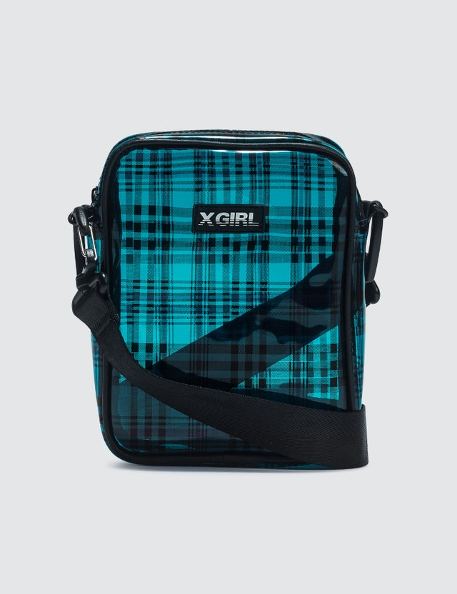 X-Girl Plaid Clear Shoulder Bag Blue Women