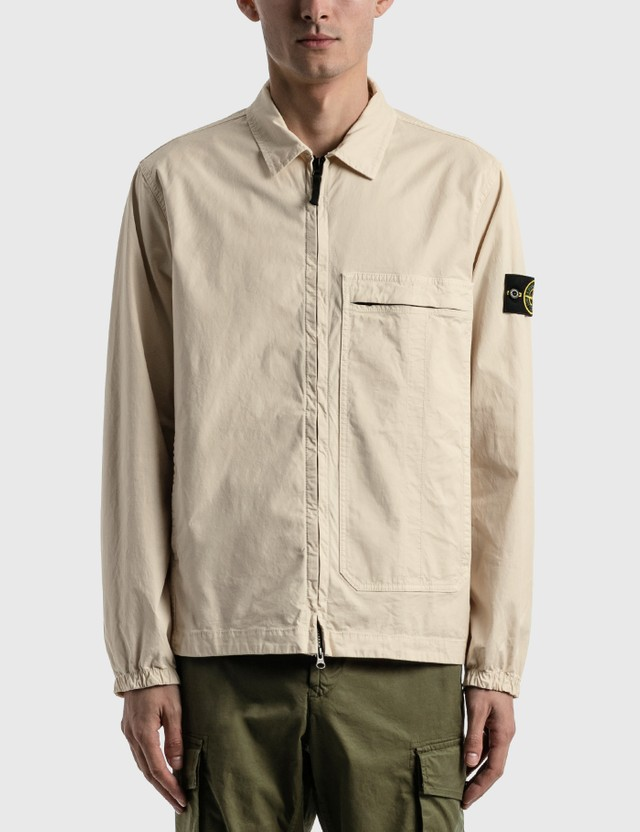 Stone Island Big Pocket Zip Shirt Ivory Men