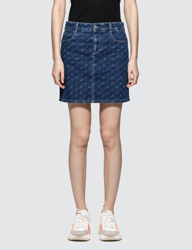 Stella McCartney Allover Logo Denim Skirt