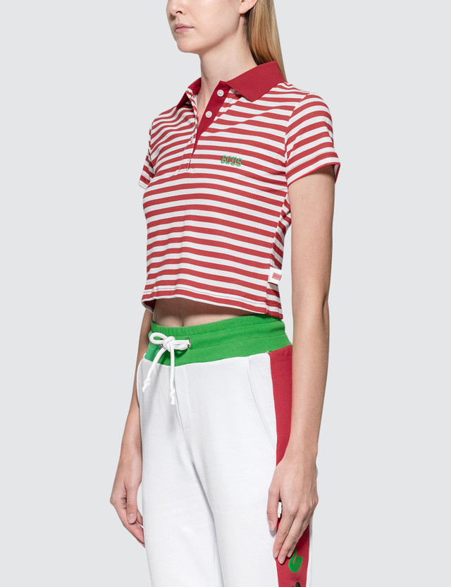 GCDS Stripe Crop Polo