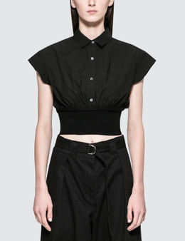 Alexander Wang.T Washed Cotton Poplin S/S Top With Rib Combo