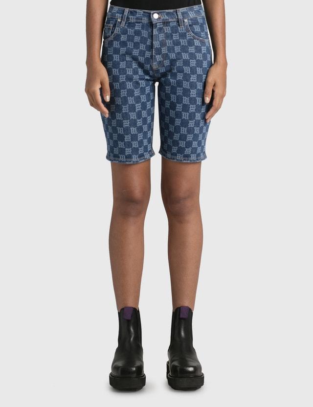Misbhv Monogram Denim High Waisted Shorts Blue Women