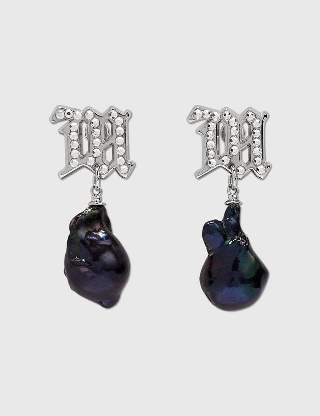 Misbhv Crystal Monogram Baroque Pearl Navy Earrings Dark Pearl Women