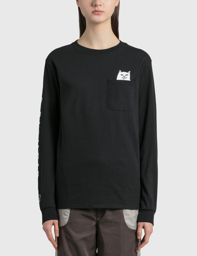 RIPNDIP Lord Nermal Pocket Long Sleeve T-Shirt Black Women