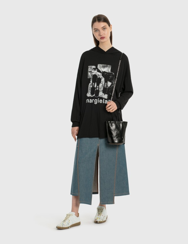 MM6 Maison Margiela Oversized Hoodie Dress Black Women