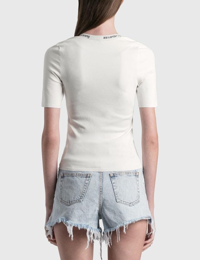 Alexander Wang.T Logo Trim Bodycon T-Shirt Soft White Women