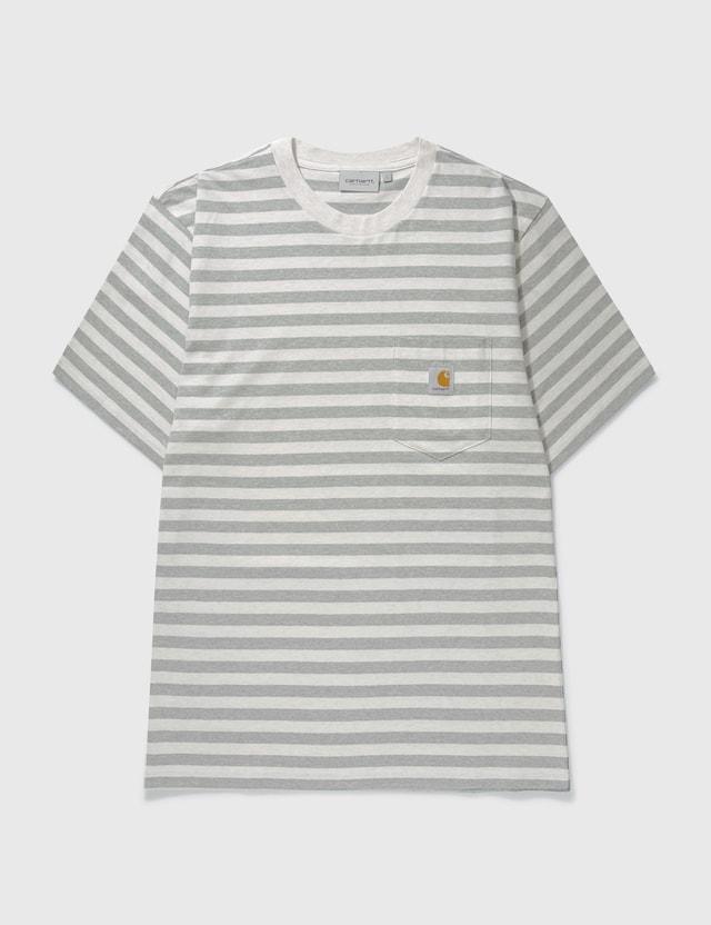 Carhartt Work In Progress Scotty Pocket T-shirt Scotty Stripe, White Heather / Grey Heather Men