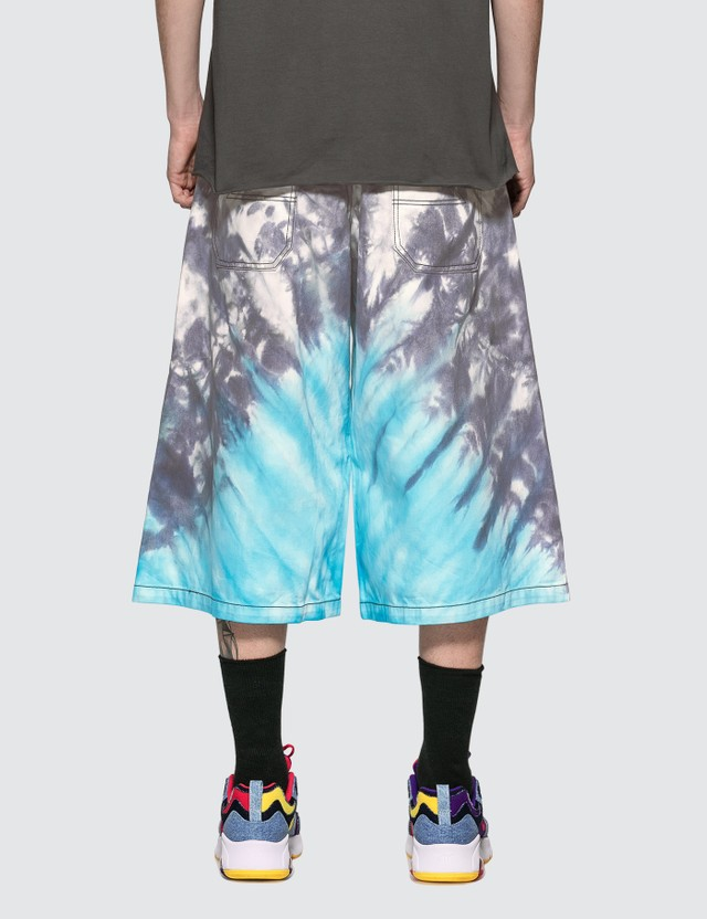 Liam Hodges Tie Dye Denim Shorts Blue Men