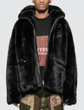Mastermind World Faux Fur Hooded Jacket With Skull Logo Picture