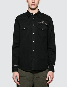 Alexander McQueen Denim Shirt with Embroidery and Cut Off Sleeves