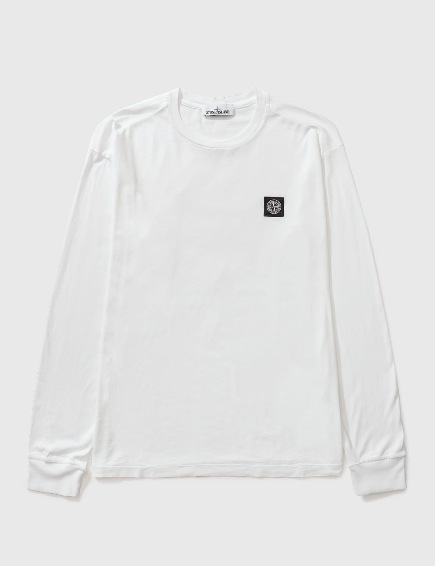 스톤 아일랜드 클래식 쭉티, 컴퍼스 로고 패치 - 화이트 Stone Island Classic Long Sleeve T-shirt